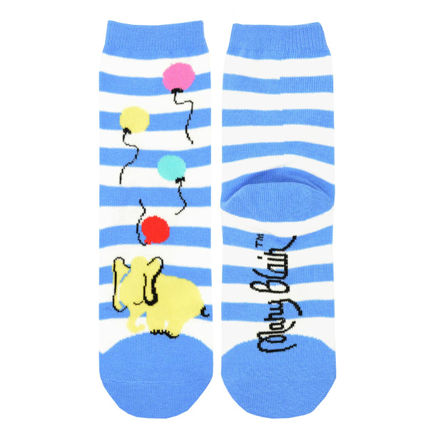 Mary Blair Playful Elephant with Balloons Blue Striped Novelty Kids Cotton Crew Socks