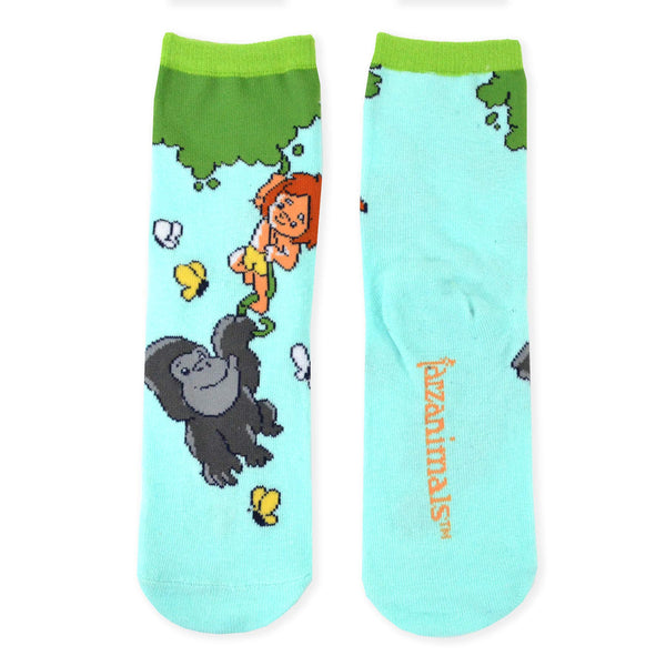Tarzanimals Kids Little Tarzan and Animals Novelty Crew Socks