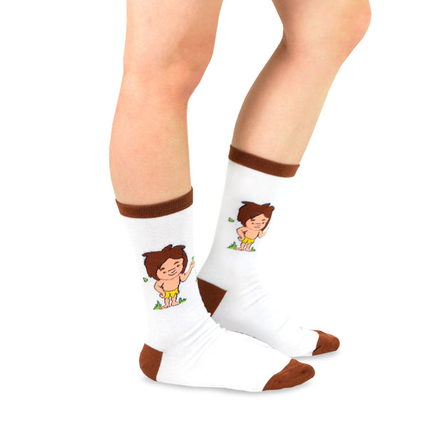 Tarzanimals Fun Silly Cartoon Safari Animal Tarzan and Jane Crew Socks