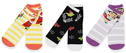 Mary Blair Kids' Girls Christmas Cotton 3-Pair Crew Socks