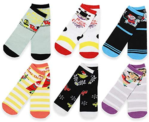 Mary Blair Kids' Girls Christmas Cotton 6-Pair Crew Socks