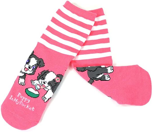 Puppy In My Pocket Kids' Girls Cute Puppy Novelty Crew Socks