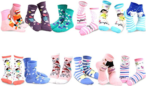 Mary Blair 12-Pack Set Pink and Blue Magic and Whimsy Novelty Kids Crew Socks
