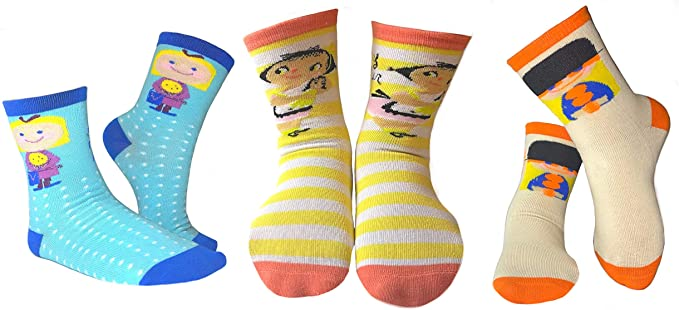 Mary Blair Kids' Girls Fun Cotton 3-Pair Novelty Kids Cotton Crew Socks
