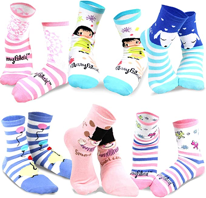 Mary Blair Kids' Girls Fun Cotton 6-Pair Novelty Kids Cotton Crew Socks
