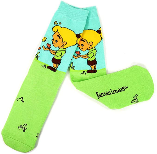 Tarzanimals Character Knitted Half Cushion Cotton Crew Socks