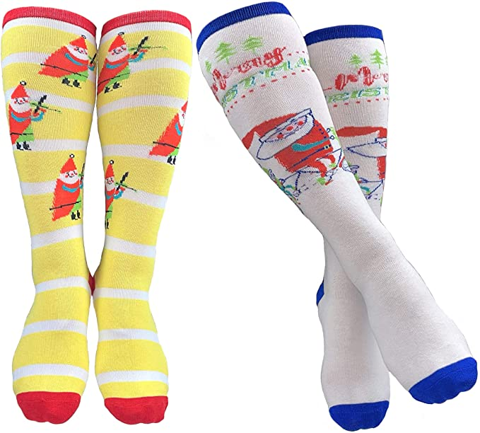 Mary Blair Christmas and Colorful Knee Hi Socks - 2 Pair