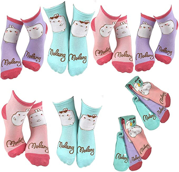 Molang Girls' Fun Wacky Colorful Crew Socks - 6 Pair