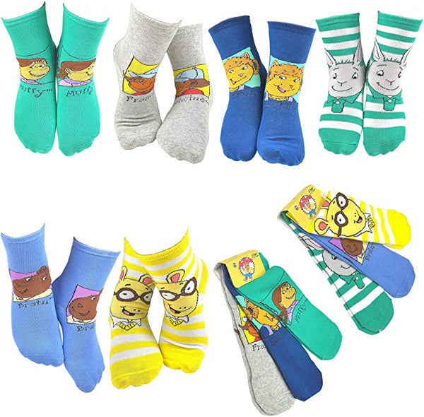 PBS Kids Arthur Popular Characters Fun Silly Cartoon Kids' Socks - 6 Pair
