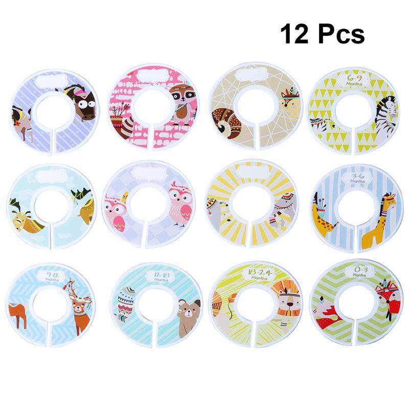12pcs Baby DIY Clothes Size Dividers Round Plastic Clothing Hanger Circle Round Hangers Closet Dividers For Wardrobe