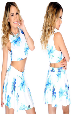 Marie Blue and White floral 2 piece