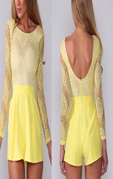 Abbey Yellow lace romper