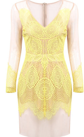 Yellow Lace backless dress