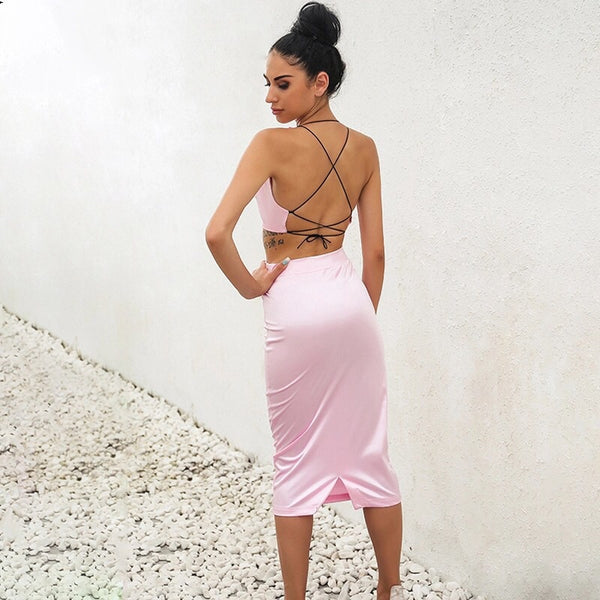Sophie Pink Satin Two Piece