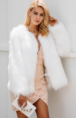 Snowy Days Faux Fur Coat