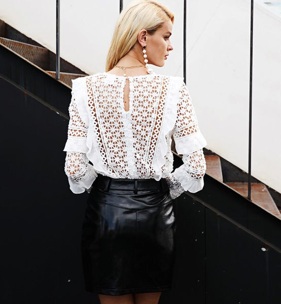 Poppy White Lace Blouse