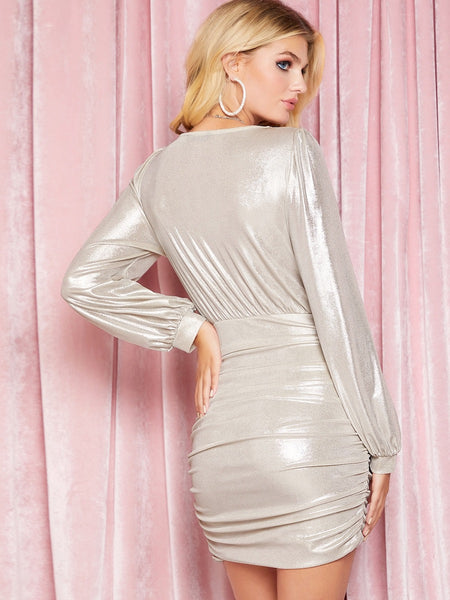 Cassidy Metallic Wrap Dress