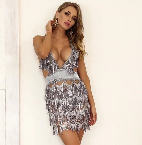 Chloe Grey Sequin Dress