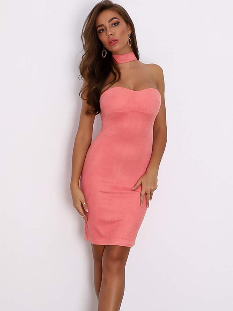 Rosy Suede Dress