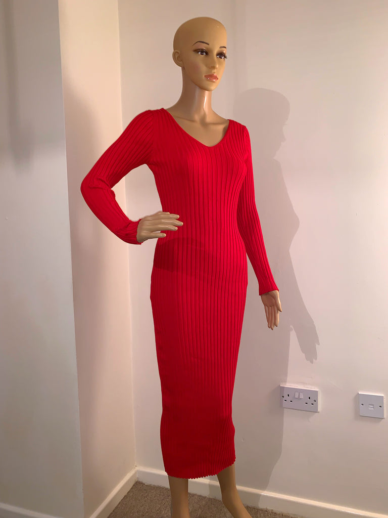 Lucia Red Knit Dress