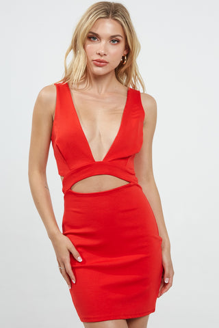 Amy Red Deep V Neck Bodycon