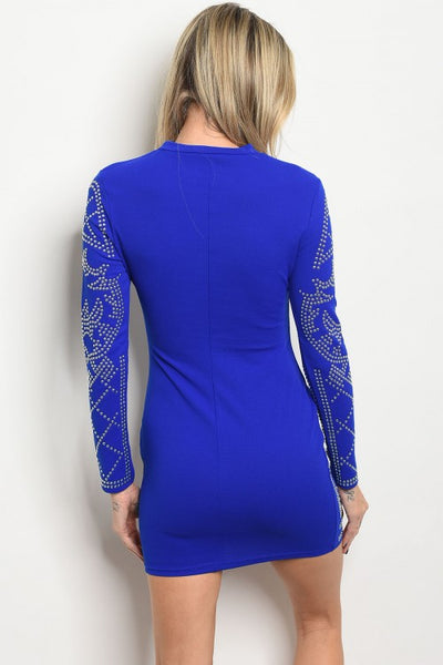 Abbie Blue Stud Dress