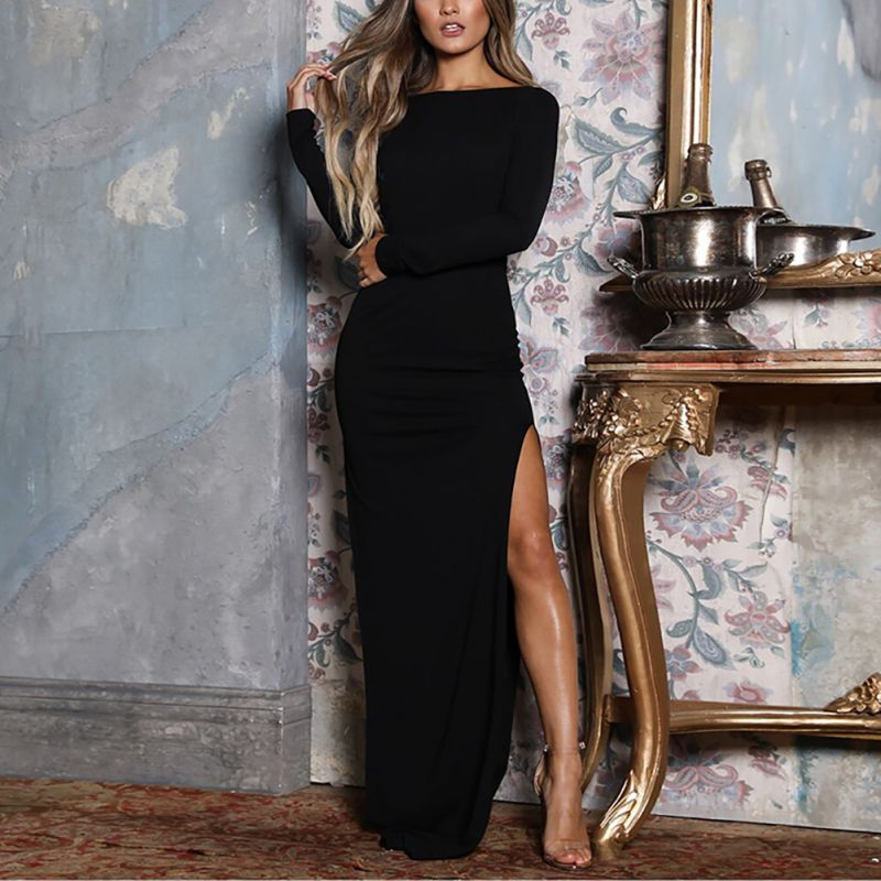 Long Sleeve Backless Bodycon High Split Evening Party Dress - Other Hands