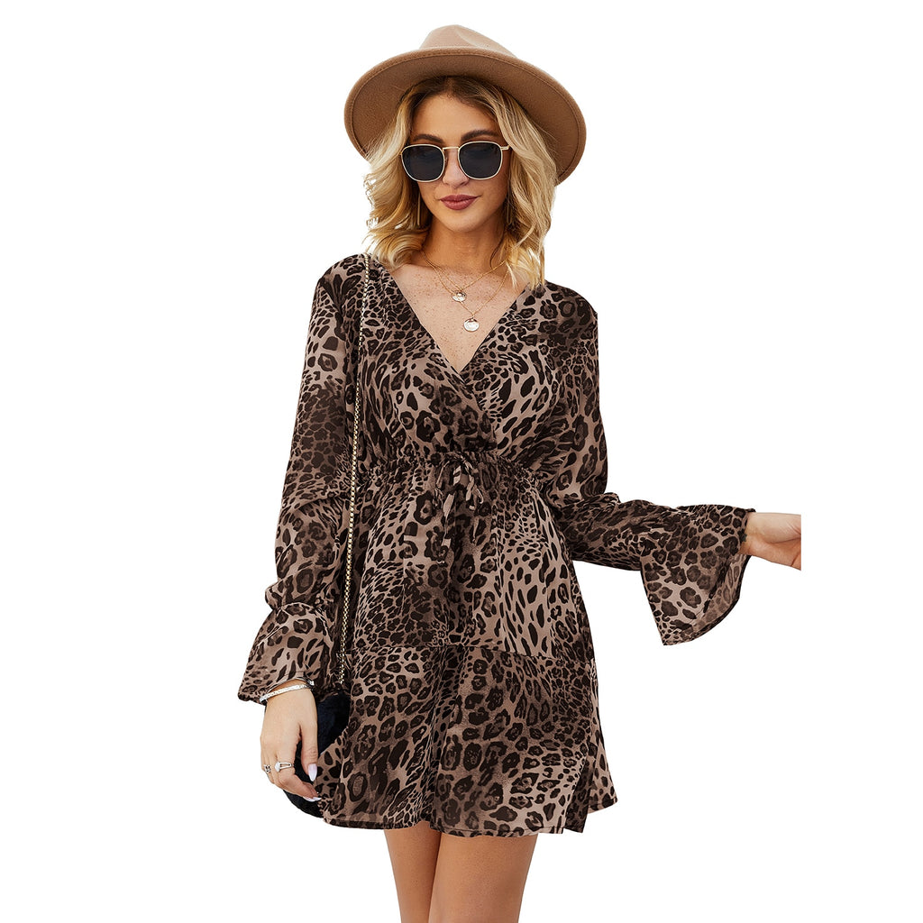 2020 New Arrival Chiffon Leopard Print Boho Ruffle Long Sleeve Dress - Other Hands