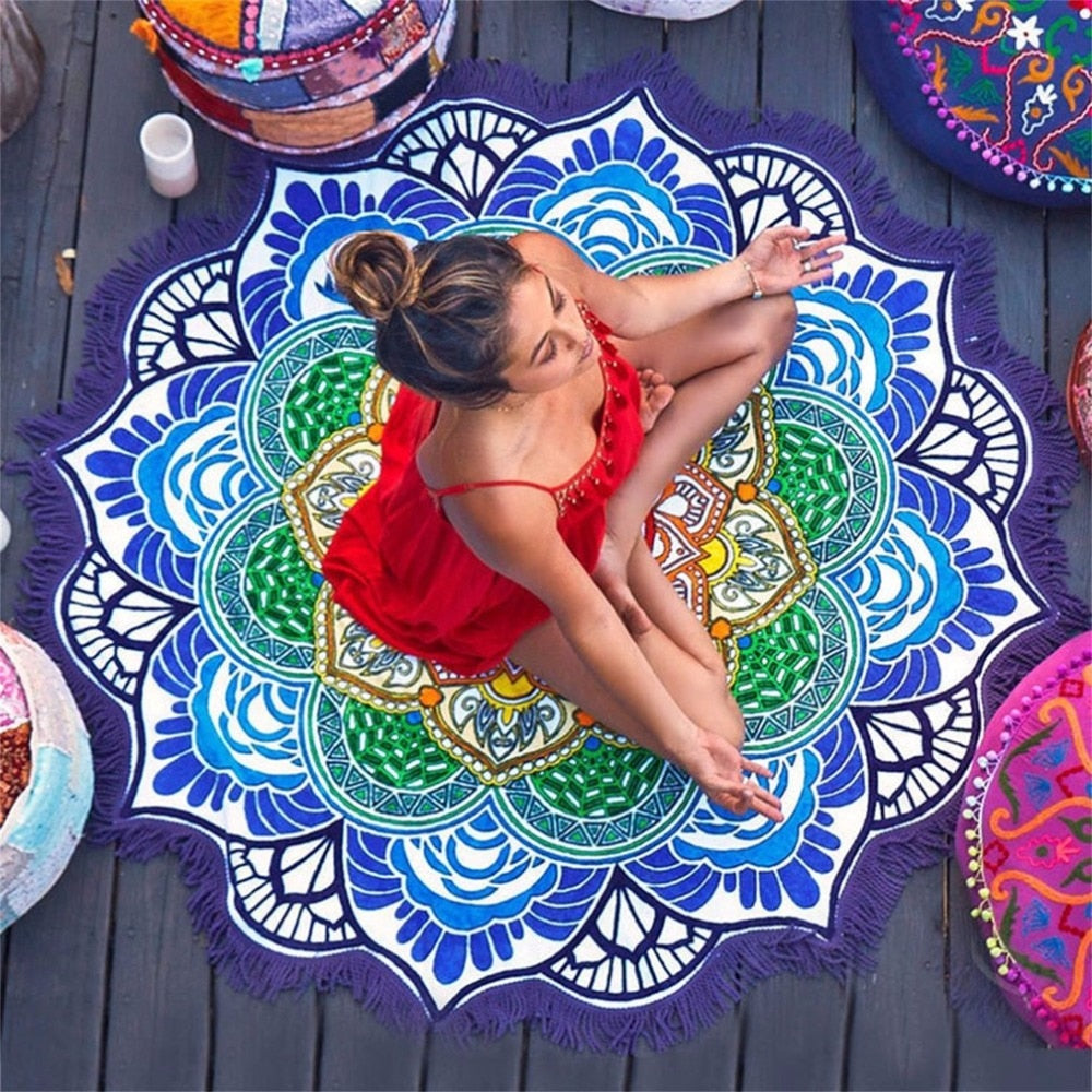 Round Tapestry Tassel Decor Yoga Beach & Picnic Towel - Other Hands