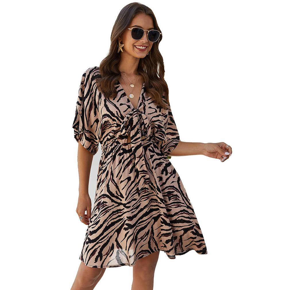 2020 Animal Printing V Neck Dress - Other Hands