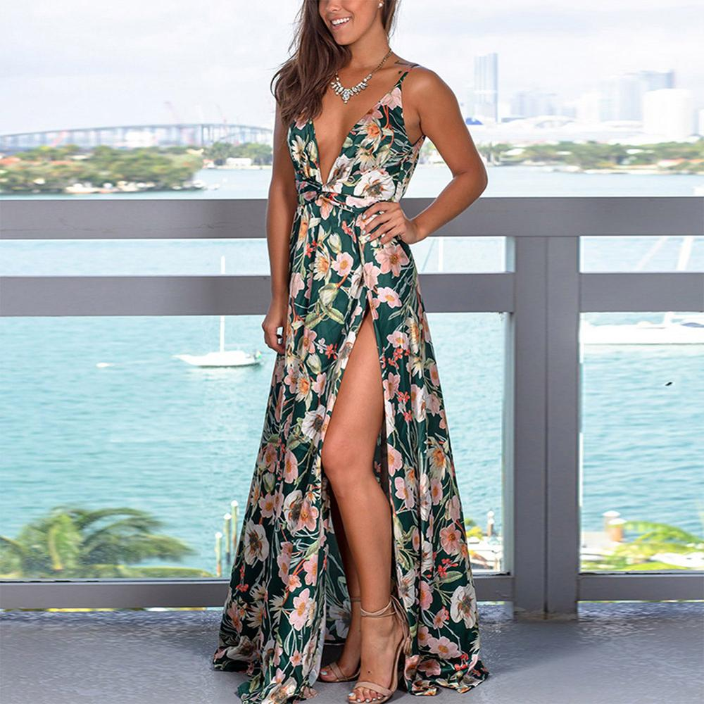 Boho V Neck Floral Maxi Evening Sling Dress - Other Hands