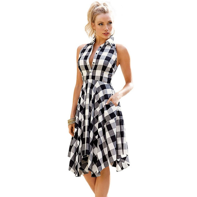 Checks Flared Plaid Women's Shirtdress - Other Hands