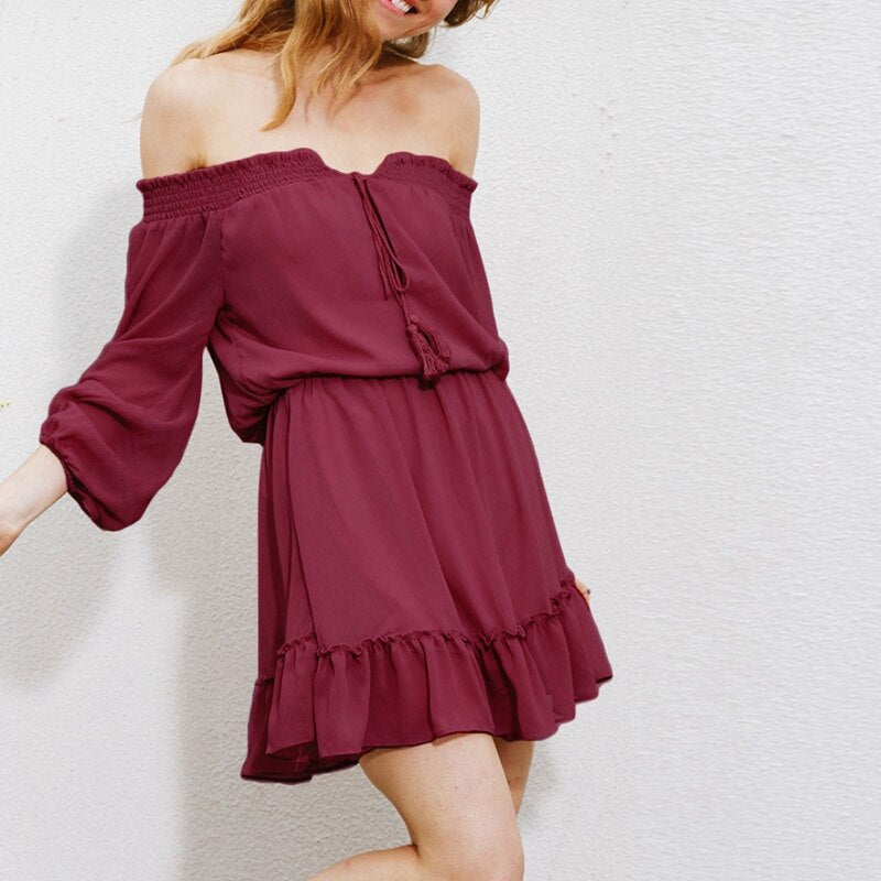 Off-Shoulder Slash Neck High Waist Chiffon Dress - Other Hands