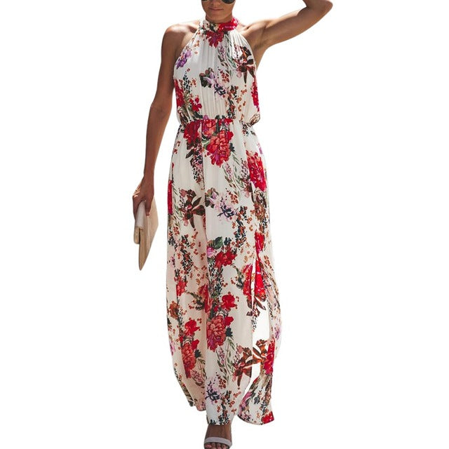 Bohemian Floral Print Halter Sleeveless Long Dress - Other Hands
