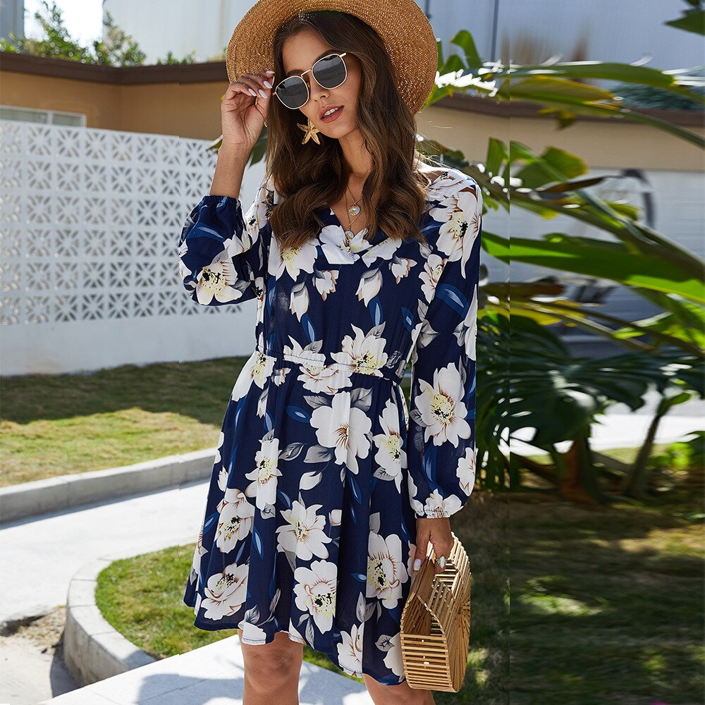 Floral Leaf Printed Long Sleeve Mini Dress - Other Hands
