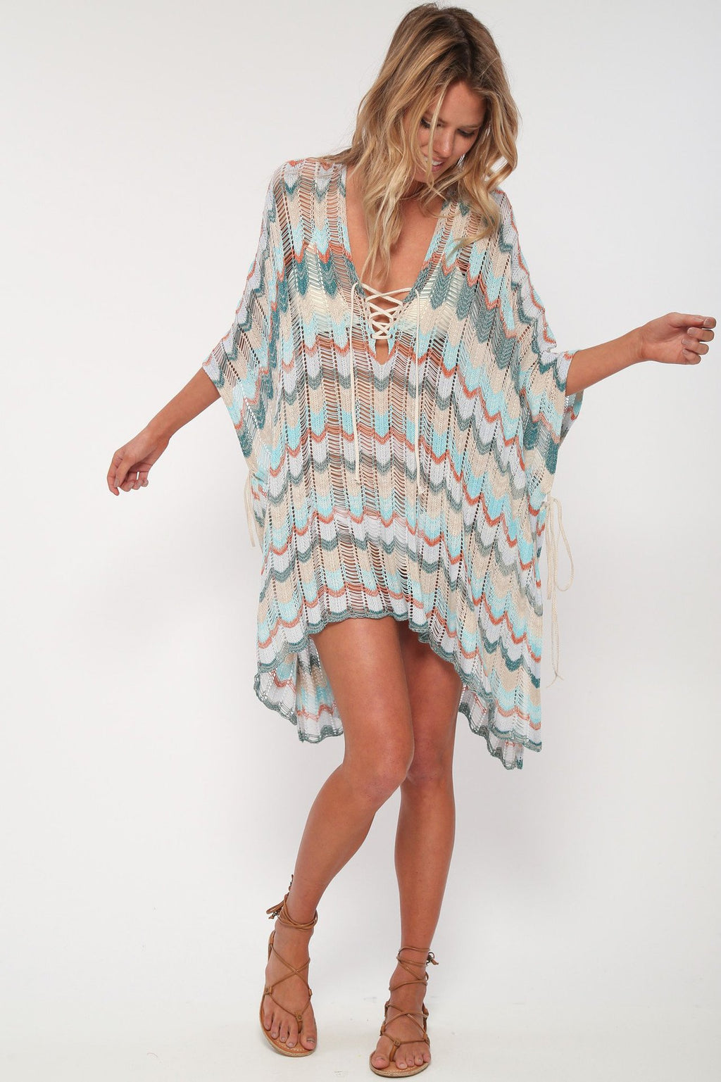 Casual V-Neck Lace Up Side Split Beach Dress - Other Hands