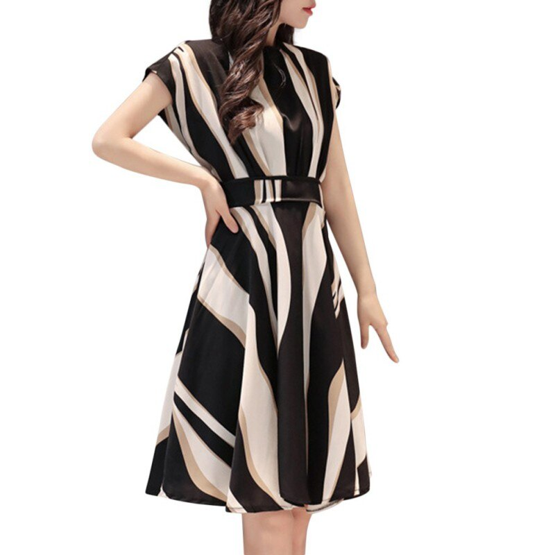 Fashion Short Sleeved Striped Midi Dress - Other Hands