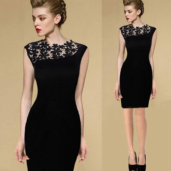 Black Stretch Evening Party Lace Slim Bodycon Pencil Dress - Other Hands