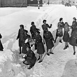 The legendary Black women of the 6888th battalion sling snowballs.
