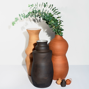 Helen Levi's Stoneware Giant Vases and Mini Vase Ornaments