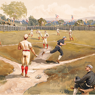 Batter up! A retro baseball watercolor that knocks it outta the park