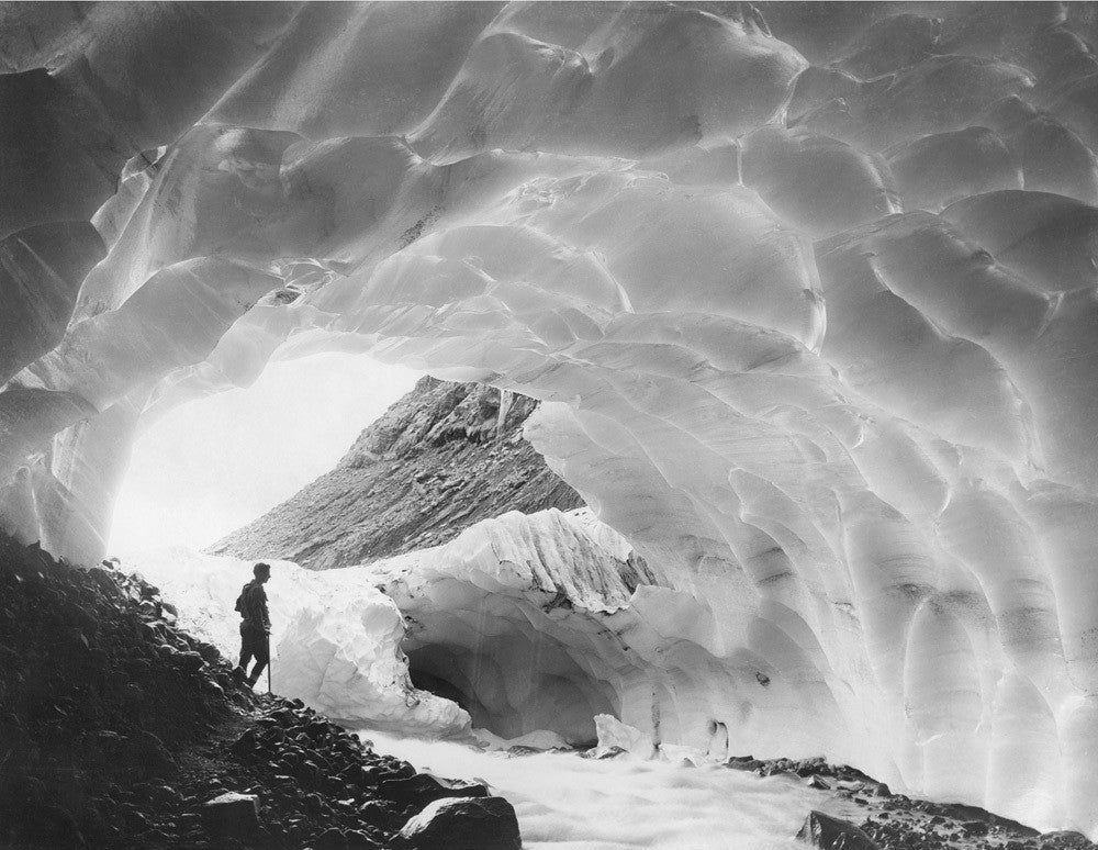 Mountaineer in an Ice Cave of Paradise Glacier, Mount Rainier National Park, Washington, 1925