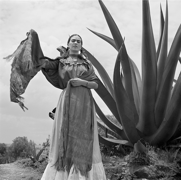 Frida Kahlo standing next to an agave plant (quick-ship)