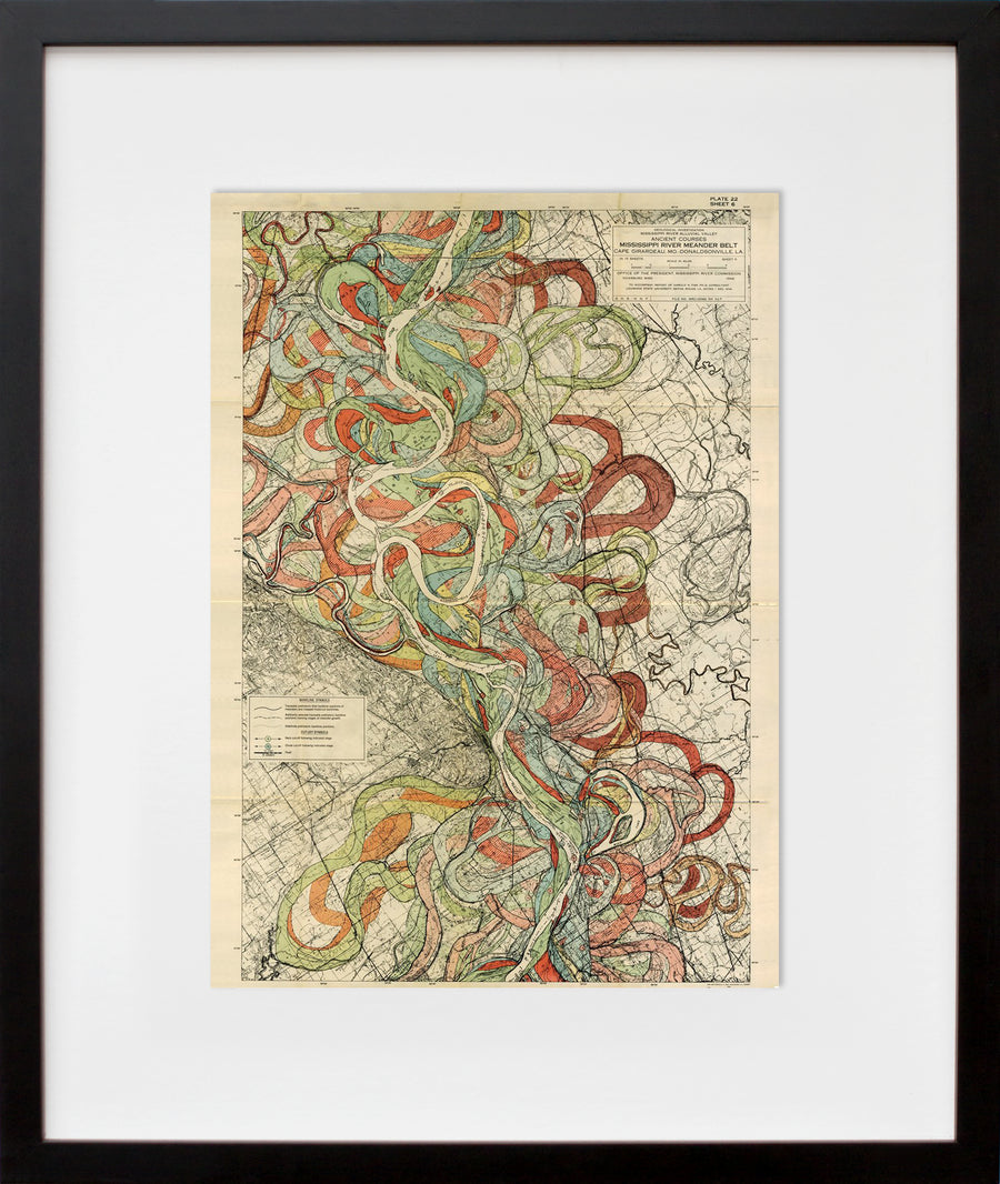 Plate 22, Sheet 6, Ancient Courses Mississippi River Meander Belt (framed + quick-ship)