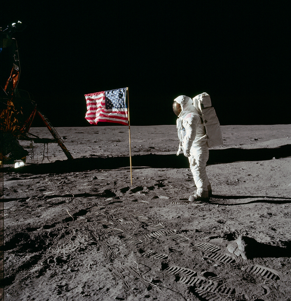 AS11-40-5875 (Buzz Aldrin and the U.S. Flag)