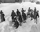 African American Women's Army Corps in the Snow