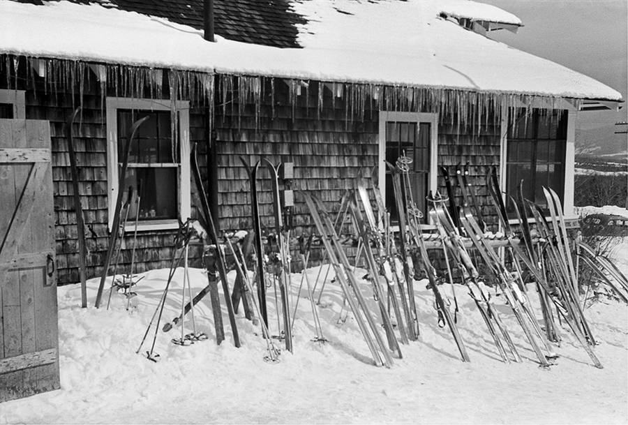 Skis outside of tollhouse at the foot of Smugglers Notch