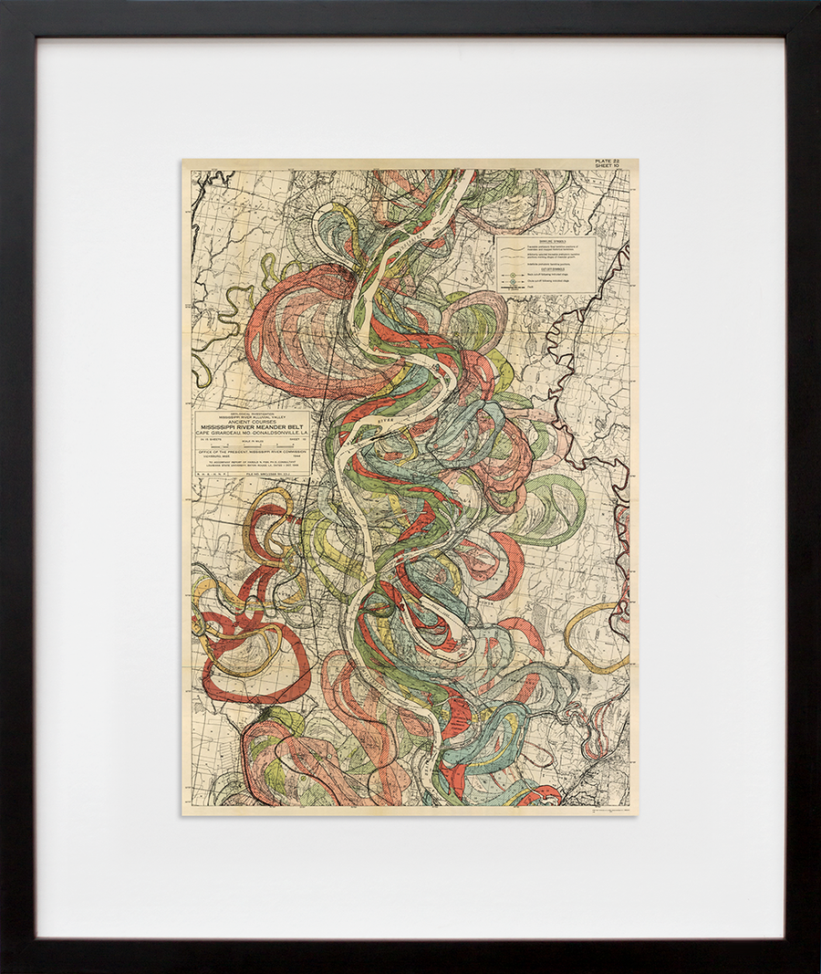 Plate 22, Sheet 10, Ancient Courses Mississippi River Meander Belt (framed + quick-ship)