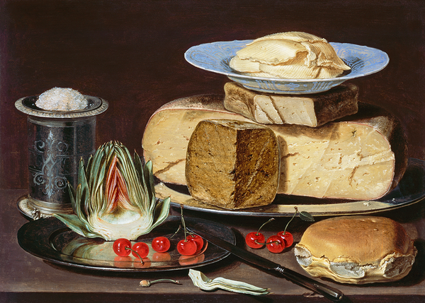 Still Life with Cheeses, Artichoke, and Cherries