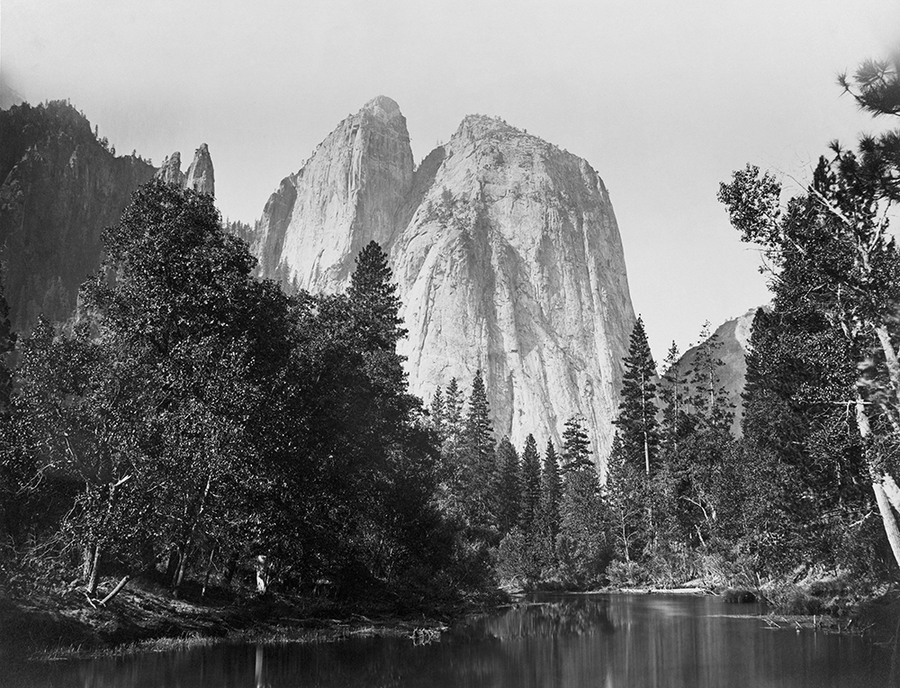 Cathedral Rocks, with lake and trees in foreground, Yosemite Valley, Calif.